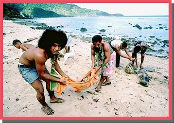 beach clean up in American Samoa jpg 49 kb